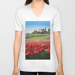 Italian Poppy Field Unisex V-Neck