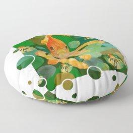Happy Nowruz Persian New Year Goldfish In Green Sea Floor Pillow