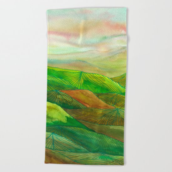 Lines in the mountains XVI Beach Towel