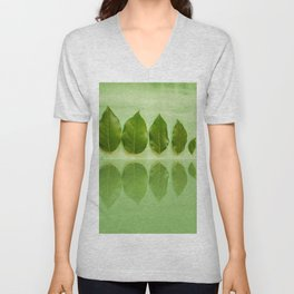 Five leaves with reflections in water close front view Unisex V-Neck