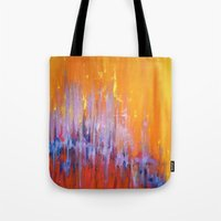 talking heads Tote Bags featuring The Bar is Called Heaven/Talking Heads by Jeannette Stutzman