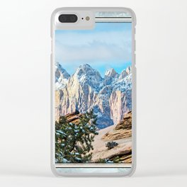 THE ORANGE AND BLUE OF ZION CANYON Clear iPhone Case