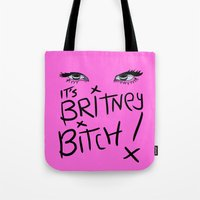britney spears Tote Bags featuring Britney Spears Eyes by Alli Vanes