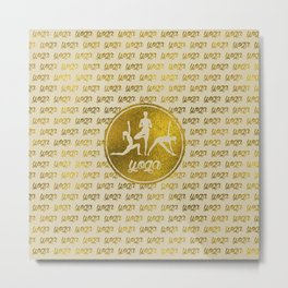 Golden Yoga Asanas Symbols  on  pastel beige Metal Print