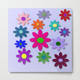 Flower Power - Light Purple Background - Fun Flowers - 60' Hippie Syle Metal Print