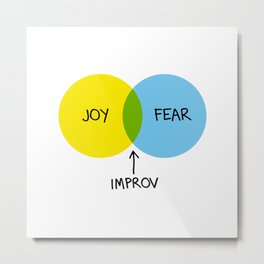 The Venn of Improv (Yellow/Blue) Metal Print