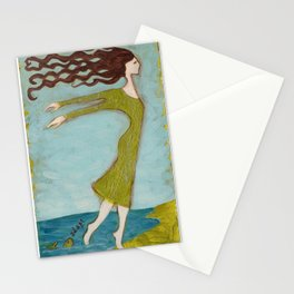 Flying Girl Adapts to New Worlds, or Fish Lessons Stationery Cards