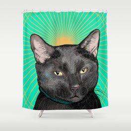 Radiant Sun Cat Shower Curtain