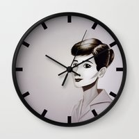 hepburn Wall Clocks featuring Hepburn by animatorlu