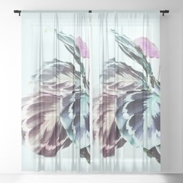 Beautiful Tropical Calathea Foliage Sheer Curtain