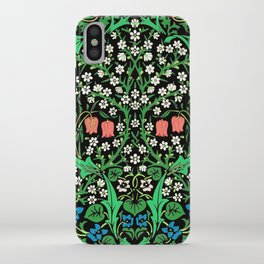 William Morris Jacobean Floral, Black Background iPhone Case