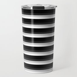 Stripes Black Gray & White Ombre Travel Mug