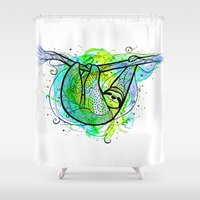 sloth Shower Curtains featuring Sloth by Nemki