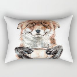 """ Morning fox "" Red fox with her morning coffee Rectangular Pillow"