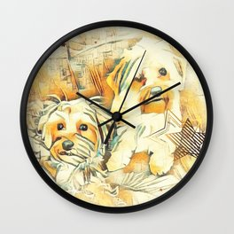 Penny and Copper Yorkie Mixes Wall Clock