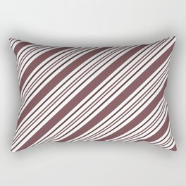 Pantone Red Pear and White Thick and Thin Angled Lines - Diagonal Stripes Rectangular Pillow