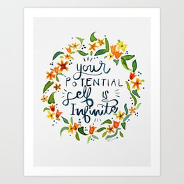 infinite potential / hand lettering watercolor motivational quote Art Print
