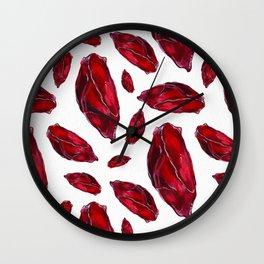 Garnet Birthstone Watercolor Illustration Wall Clock