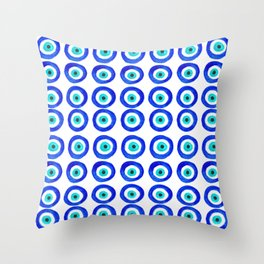 Evil Eye Amulet Talisman - on white Throw Pillow