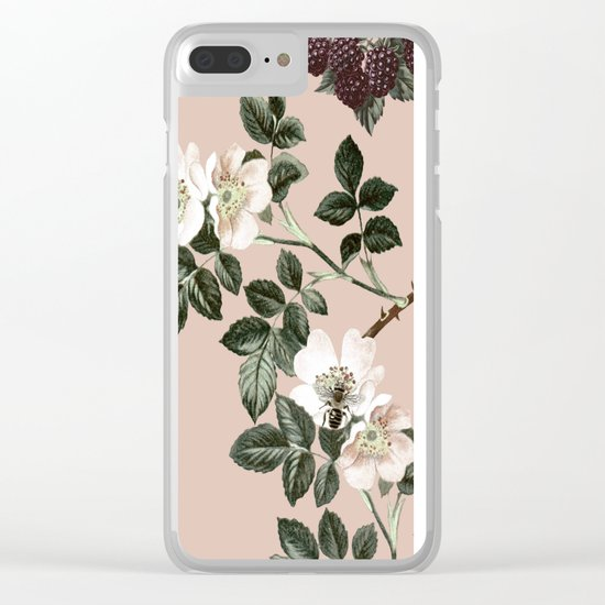 Bee Blackberry Bramble Coral Pink Clear iPhone Case