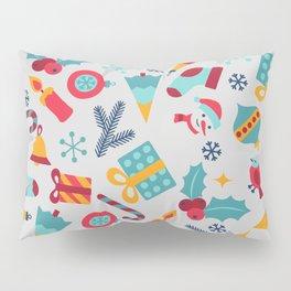 Cute ornaments jingle bells snowman colorful cartoon folk art Nordic Kids Christmas Pillow Sham
