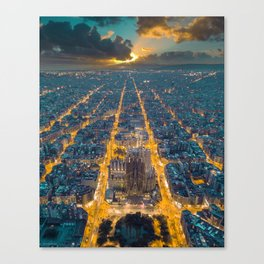 Sunset in Barcelona Canvas Print