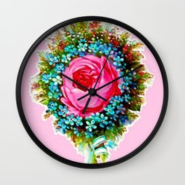Retro Vintage Floral Bouquet Rose Wall Clock