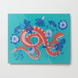 Snake and Wildflowers Metal Print