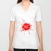 shaun of the dead V-neck T-shirts featuring Shaun oF The Dead  |  You've Got Red On You... by Silvio Ledbetter