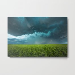 April Showers - Colorful Stormy Sky Over Lush Field in Kansas Metal Print