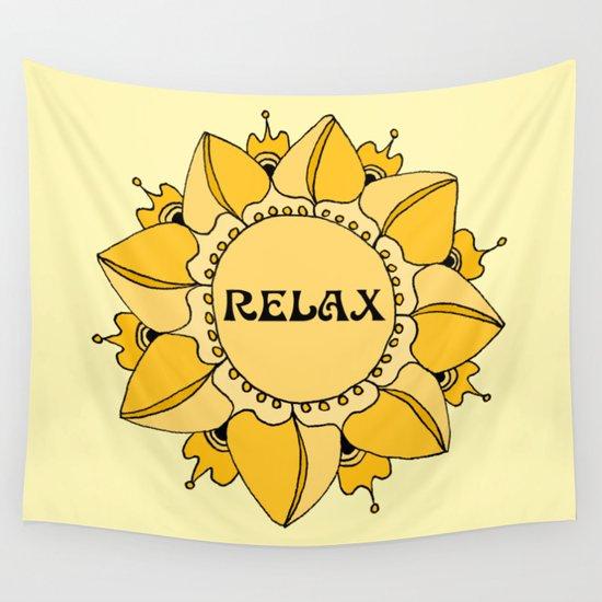 Relax Nouveau Golden Sun Mandala Wall Tapestry