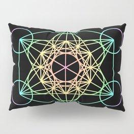 Metatron's Cube- Rainbow on Black Pillow Sham