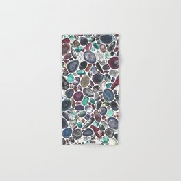MIXED GEMSTONES ON WHITE Hand & Bath Towel