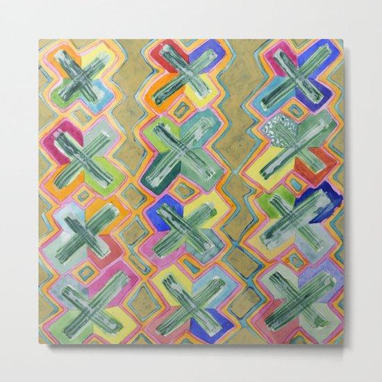 Colorful X-Pattern Metal Print