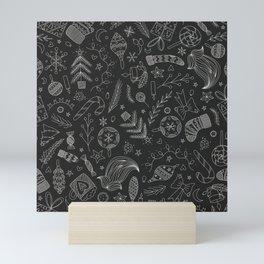 Black Christmas Doodles Mini Art Print