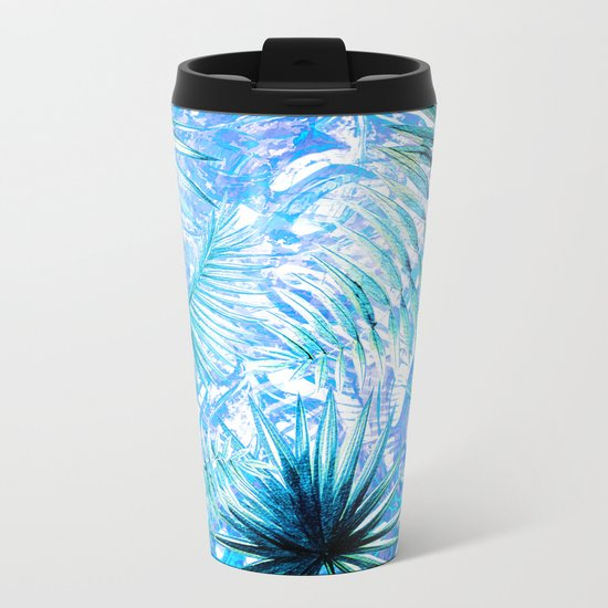 Aloha- Blue abstract Tropical Palm Leaves and Monstera Leaf Garden Metal Travel Mug