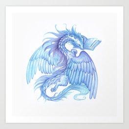 A dragon with a book Art Print
