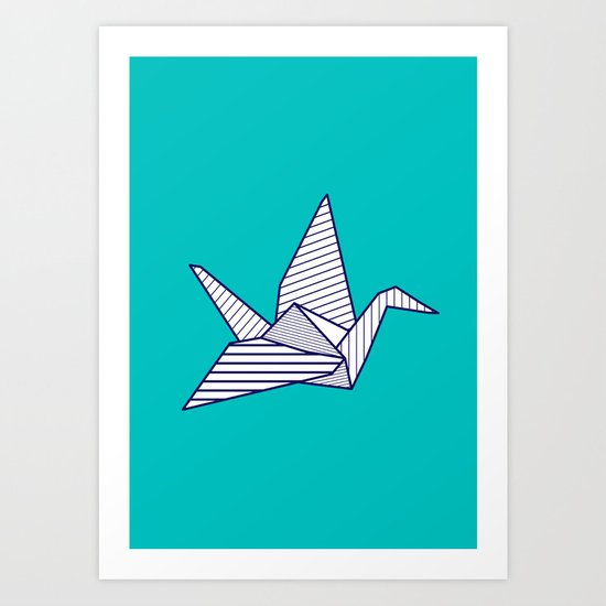 Swan, navy lines on turquoise Art Print