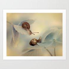 Snails on hydrangea Art Print
