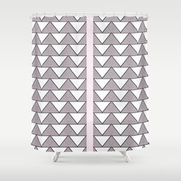 Audrey and Frank - Modern Envelopes Stripe (Pink) Shower Curtain