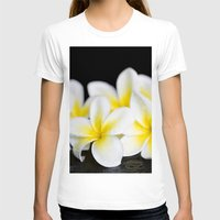 singapore T-shirts featuring Plumeria obtusa Singapore White by Sharon Mau