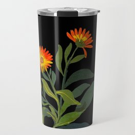 Calendula Officinalis Mary Delany Floral Paper Collage Delicate Vintage Flowers Travel Mug