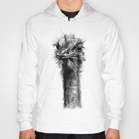 ostrich Hoodies featuring Ostrich  by Jane Moore Art