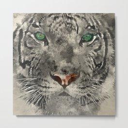 White Tiger Watercolor Metal Print
