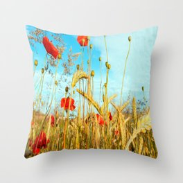 Lying in the cornfield, let your soul Throw Pillow