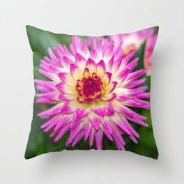 Pink & White Dahlia Throw Pillow