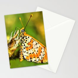 Spotted Fritillary Orange and White Butterfly Stationery Cards