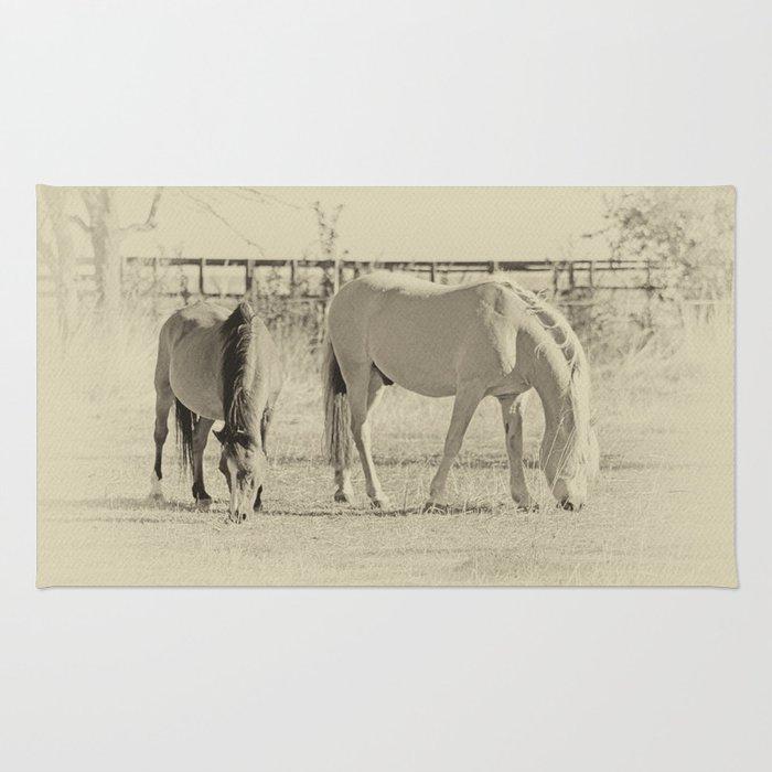 Horses on pasture Rug