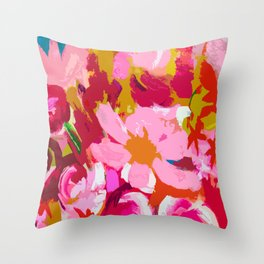 Abstracted Flower Painting in Hot Pink, red, spring green Deko-Kissen