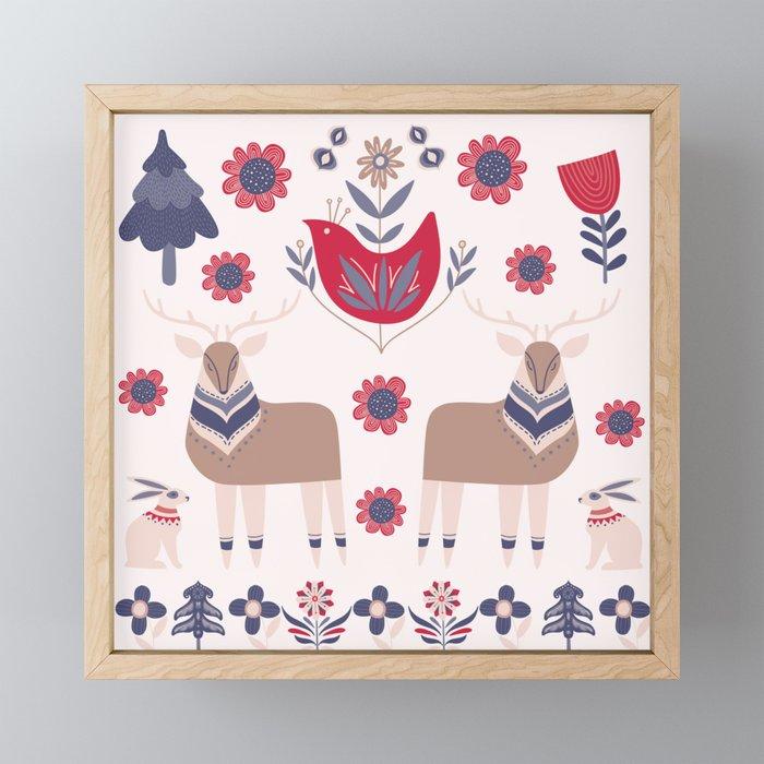 Scandinavian Winter Pattern Beige #society6 #buyart Framed Mini Art Print